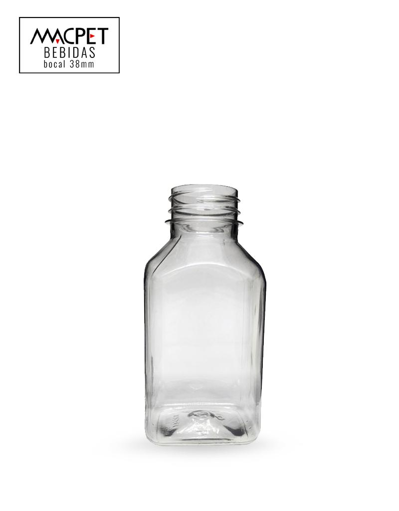 LINHA 03 – 300ml – Bocal 38mm – (F096) – Embalagem pet Quadrada para Bbebidas